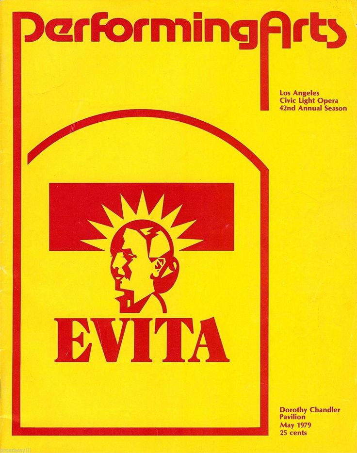 "Los Angeles, CA premiere of ""Evita"" at the Dorothy Chandler Pavilion, located at 135 N. Grand Avenue at the Music Center ... American Premiere Production ... May 8 - July 7, 1979 ... Scenic Design and Costume Design by Timothy O'Brien and Tazeena Firth ... Music by Andrew Lloyd Webber ... Lyrics by Tim Rice ... Directed by Harold Prince ... This production starred Patti LuPone, Mandy Patinkin, and Bob Gunton."