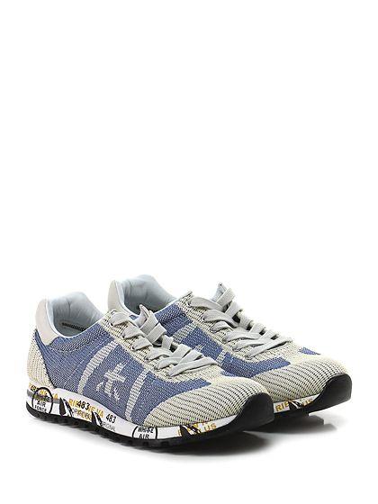 PREMIATA - Sneakers - Donna - Sneaker in tessuto lavorato e pelle con suola in gomma loggata. Tacco 30, platform 20 con battuta 10. - 1513 JEANS\BEIGE - € 214.00