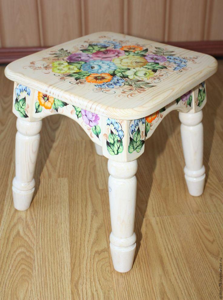Купить Детская табуретка Цветы - комбинированный, детская мебель, расписная мебель, деревянная табуретка