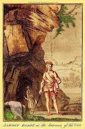The story of Sawney Bean is one of the most gruesome Scottish legends, the plot of which would not look out of place in any modern horror/slasher movie. Evidence suggests the tale dates to the early 18th century.  Alexander Sawney Bean was - legend tells - the head of an incestuous cannibalistic family, who oversaw a 25-year reign of murder and robbery from a hidden sea cave on the Ayrshire/Galloway coast in the 15th century. The cave most readily asso