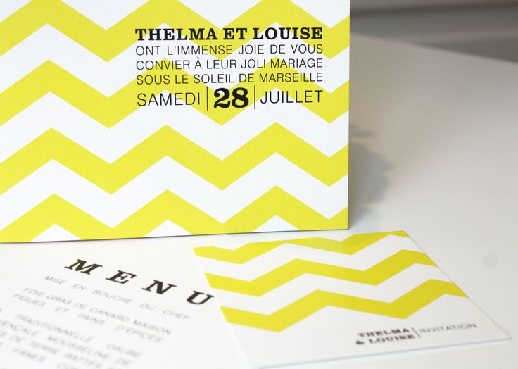Faire-part et invitation mariage Thelma & Louise  www.dancourt.net © 2015 DANCOURT #fairepart #mariage #wedding #stationnery #papeteriemariage #menu #savethedate #invitation #creatif #design #original #chic #boheme #boho #moderne #romantique #papierdecreation #blanc #jaune #noir #yellow  #chevrons