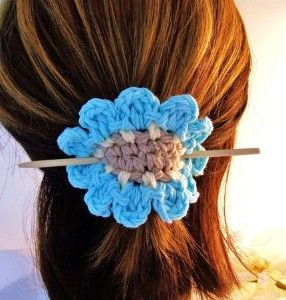 Crocheted Flower w/Bamboo Stick, Hair Accessory