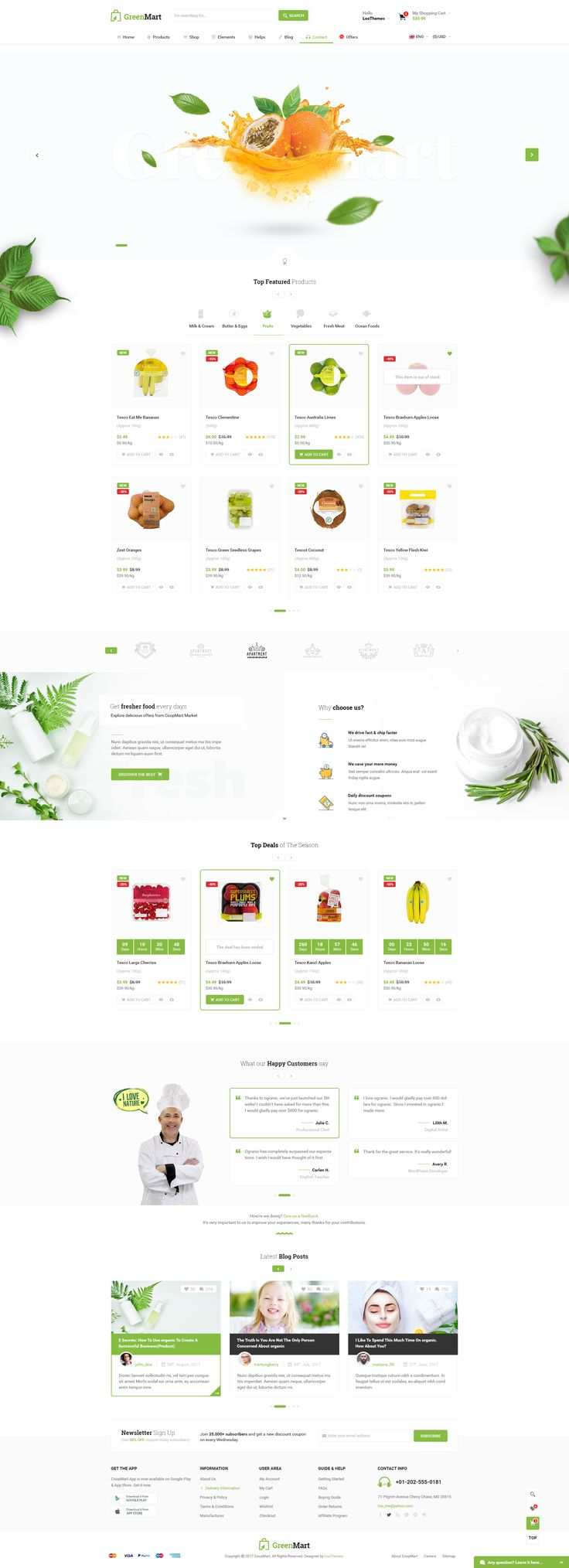 GreenMart - Food & Organic Supermarket PSD Template #green #market #organic • Download ➝ https://themeforest.net/item/greenmart-food-organic-supermarket-psd-template/20486167?ref=pxcr