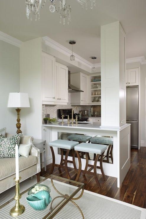 Marble Octagon Tile - Transitional - kitchen - Sarah Richardson Design  Love love those stools!