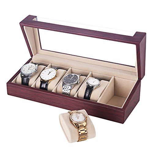 SONGMICS Father's Day Watch Box 5 Slots Watch Organizer Display Case for Men and Women Rose Faux Leather UJWB05R - http://www.jewelryfashionlife.com/songmics-fathers-day-watch-box-5-slots-watch-organizer-display-case-for-men-and-women-rose-faux-leather-ujwb05r/