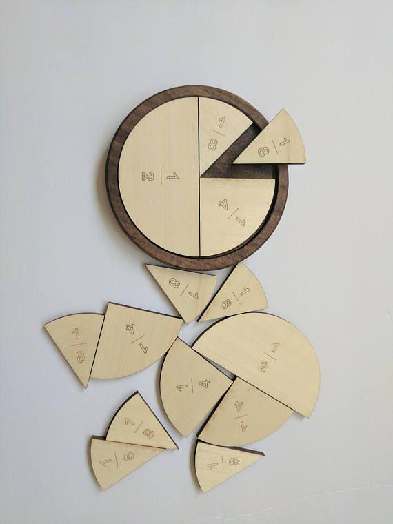 Fractions learning wooden manipulatives set Homeschooling Montessori elementary school visual aid