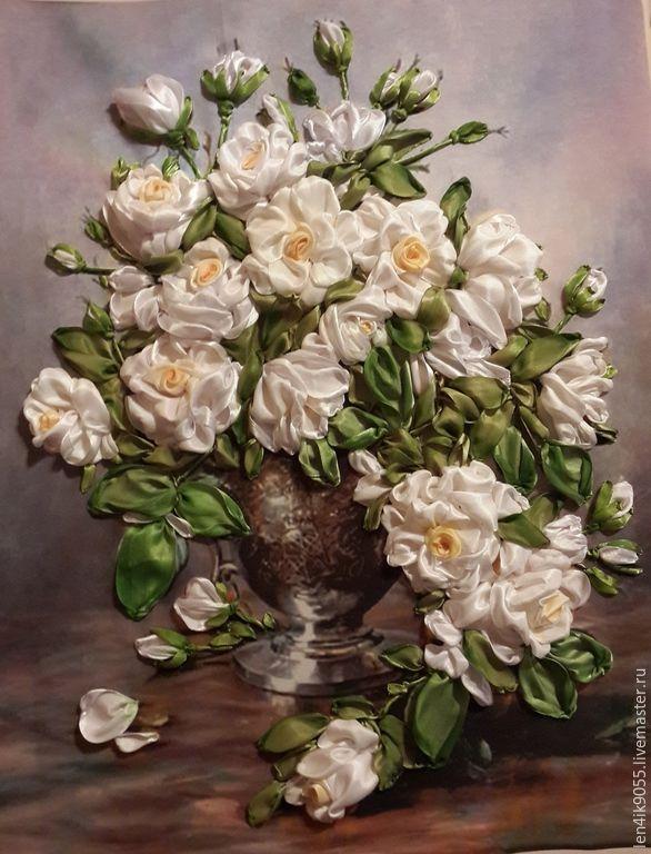 Купить букет роз - белый, букет, букет роз, Вышивка лентами, белые розы