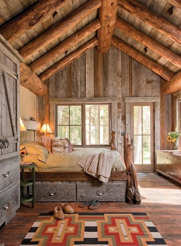 Ceiling, Walls, Floor, and Furniture made from Reclaimed Wood