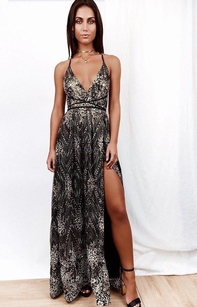 Jasmine Glitter Formal Dress Black