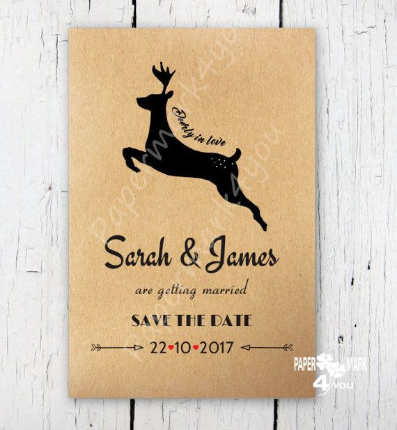 Kraft Rustic Save The Date  Deerly in Love_Custom by PaperMark4You