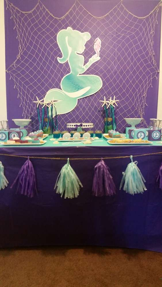 Mermaid birthday party dessert table! See more party planning ideas at CatchMyParty.com!