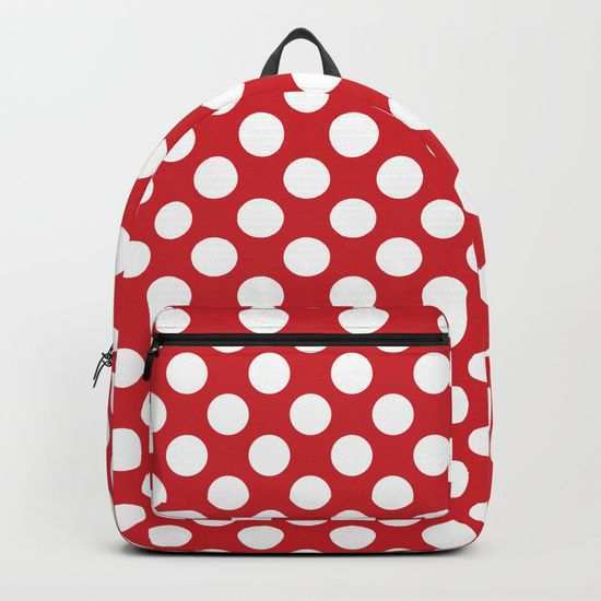 "Our Backpacks are crafted with spun poly fabric for durability and high print quality. Thoughtful details include double zipper enclosures, padded nylon back and bottom, interior laptop pocket (fits up to 15""), adjustable shoulder straps and front pocket for accessories. Dry clean or spot clean only. One unisex size: 17.75""(H) x 12.25""(W) x 5.75""(D). Back to school backpack #society6 #backpack #loveschool #backtoschool #school #polkadot #pinup #dots #redandwhite #cute #pretty"