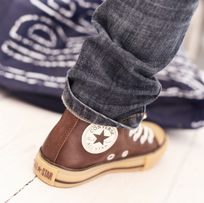 brown leather converse for kids