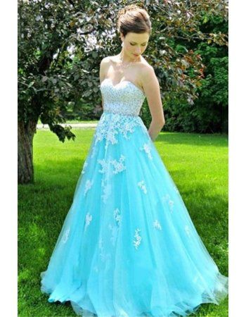 Vintage White Lace Princess A Line Pool Blue Tulle Lace Up Back Prom Dress