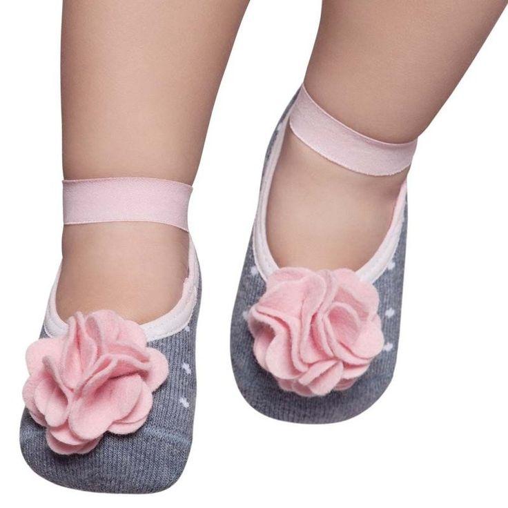 Meia Sapatilha Puket Bebê Menina Azul Jeans com Aplique | Trovai - Trovai | Lindas roupas infantis com preço baixo você encontra aqui!