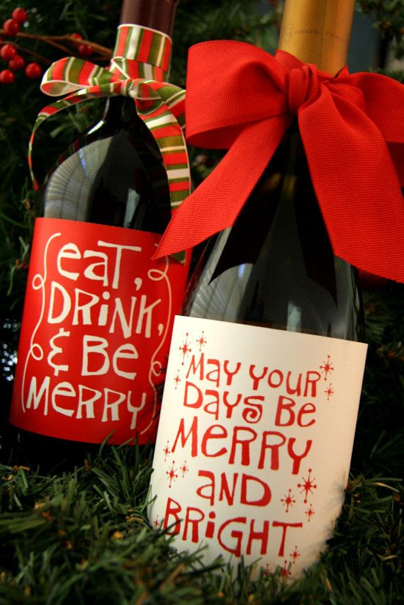 CHRISTMAS // PRINTABLE whimsical Christmas wine bottle by chachkedesigns
