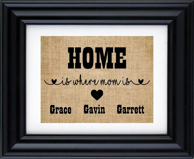 Home is where mom is sign- gift for mother's, gift from kids, personalised gift for Mom,Mother's day gift, Gift for Mum, Mother's day burlap print-2Q (Frame not included)