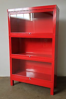 2 Red Vintage Gf Metal Lawyers Barrister Stacking Bookcase Gl Doors