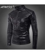 Men's leather jacket Slim fit Faux Leather Jacket Motorcycle Bomber Jacket - $46.00