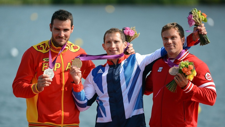 Men's Kayak Single (K1) 200m Canoe Sprint medallists pose with their medals. Silver medallist Saul Craviotto Rivero of Spain, gold medallist Ed McKeever of Great Britain and bronze medallist Mark de Jonge of Canada celebrate during the Victory Ceremony for the men's Kayak Single (K1) 200m Canoe Sprint.  (aug 11, 2012)