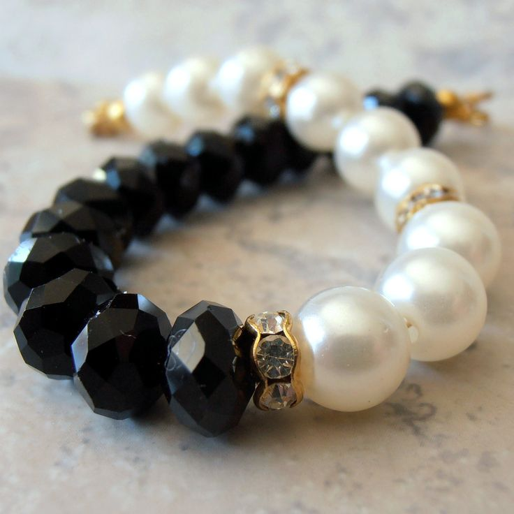 Black and White Pearl Faceted Crystals Gold Crystal Spacers