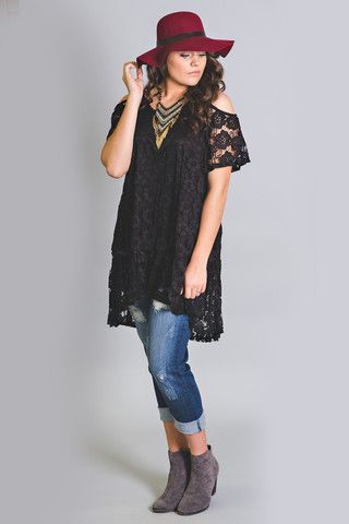 Covered In Lace Open Shoulder Tunic Top-Plus Size - NanaMacsBoutique  - 1