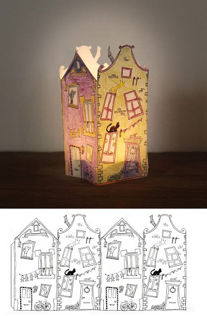House lantern. Print out, paint the house, cut it out, fold and glue the four walls of the house by using the tab (left).