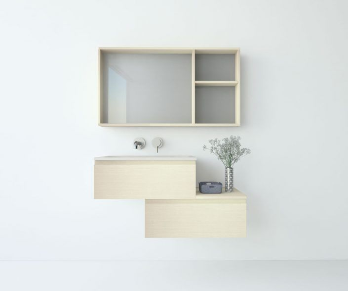 Muebles de baño a medida. Ejemplo de acabados en madera natural, laminados, lacas brillo o mate, etc.  unibaño-compactos-acabados-7