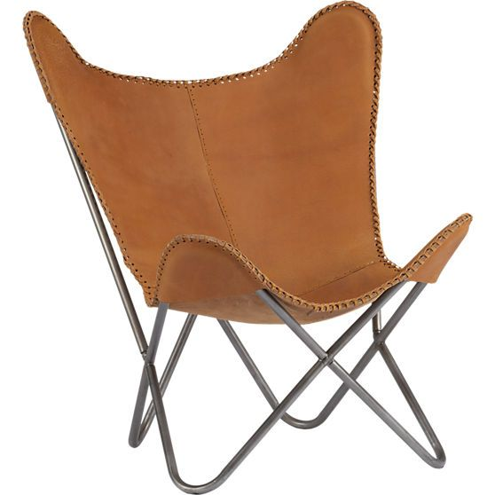 BASEMENT CHAIR 1938 leather butterfly chair in chairs | CB2