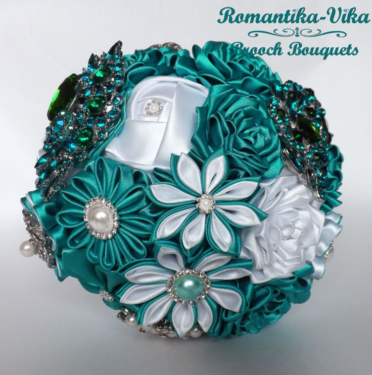 Brooch Bouquet. White and Cyan wedding brooch bouquet. Jeweled and Fabric bridal bouquet.