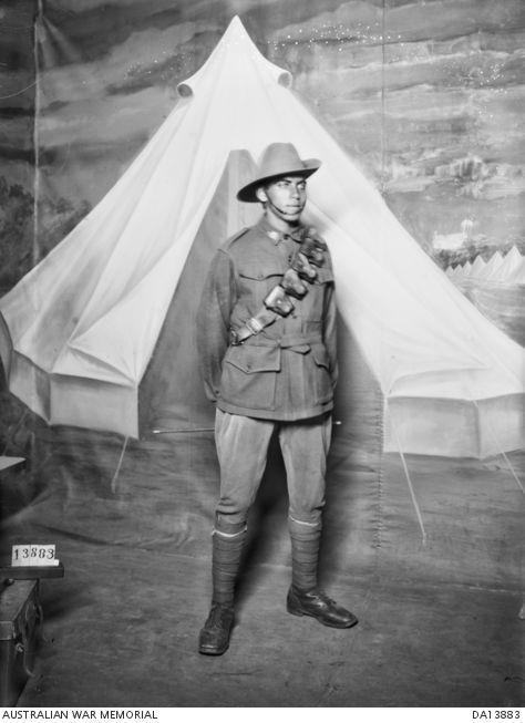 Studio portrait of Aboriginal serviceman, 5243 Private (Pte) George Alexander Terrick, 16th Reinforcements, 14th Battalion, of Healesville, Victoria  DA13883   Australian War Memorial