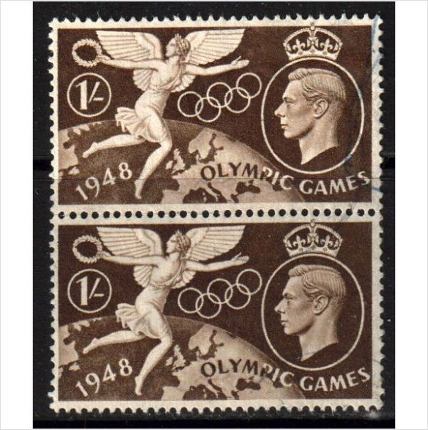 GB Scott 274 - SG498, 1948 Olympic Games 1/- Pair used stamps sur le France de eBid