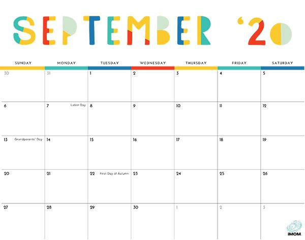 2021 Colorful Printable Calendar for Moms - iMom ...
