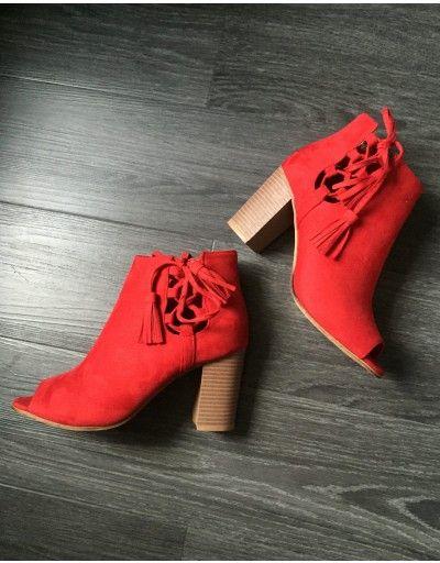 Low boots rouge suédine à bouts ouverts