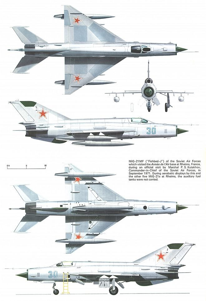 "The MiG-21, also known as ""Fishbed"" by NATO. The most mass-produced fighter jet…"