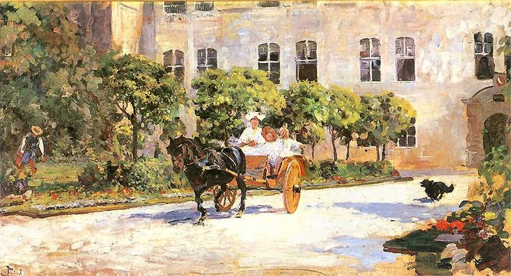 Józef Mehoffer – Powóz przed pałacem