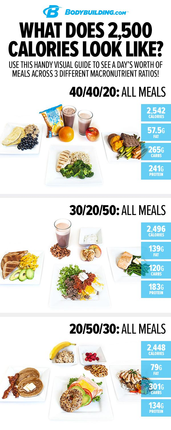 What Does 2,500 Calories Look Like? Once you know those numbers, all you have to do is fill them in with actual food like we've done here. Use this handy visual guide to build your own perfect diet based on your preferred macronutrient ratio!