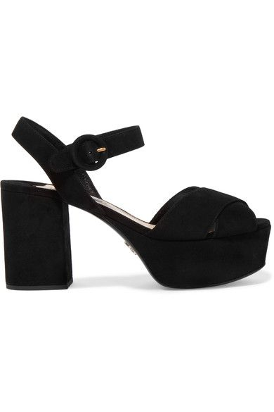Heel measures approximately 90mm/ 3.5 inches with a 40mm/ 1.5 inches platform Black suede Buckle-fastening ankle strap Made in Italy