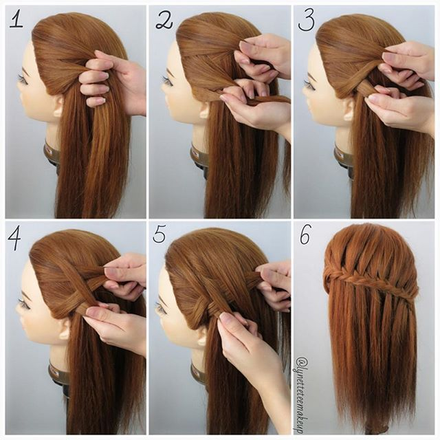 Fishtail Waterfall Braids   1.Divide into 2 equal section 2.Take a small section from the outside of the left section 3.Cross it over t...