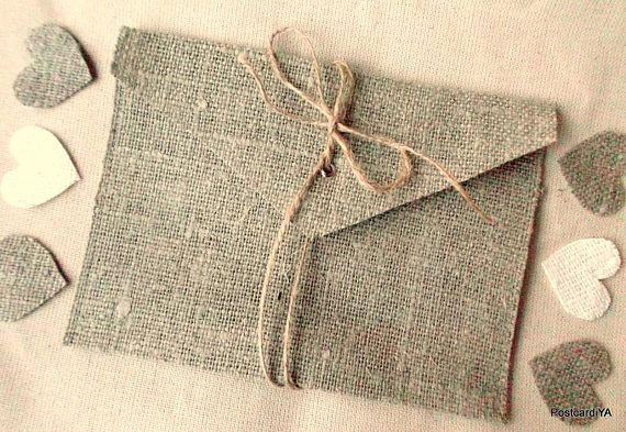 Shipping from San Francisco, USA. The high quality of workmanship and fabrics. 100% Handmade! 100% Belarusan burlap!!! Eco-friendly! These real burlap Envelopes with linen bow will be a perfect addition to any wedding in the sea, rustic and other styles. Envelopes - bags are ideal for small flat gifts and store favorite photos, cards and other little gifts, invitations and for anything!!! Size BIG envelope from the outside: 7.2 * 5.2 inches = 18.5 * 14.5 cm. Available in sets of 5, ...