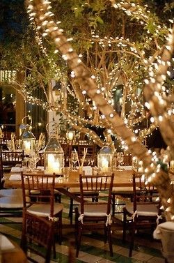 White lights and lanterns. I love this look, I want a fairytale wedding with lights and ambiance!