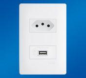 Tomada 2P+T 10A/250V~ e Tomada USB 5W - 5V - 1A - Distanciadas - Habitat