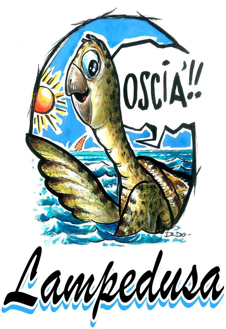 Immagine della tartaruga caretta caretta che si riproduce nelle spiagge dell'isola di Lampedusa con la frase tipica che manifesta il massimo affetto che si può dare alle persone care . Fiato mio ,frase che gli isolani adoperano per salutare le persone care .