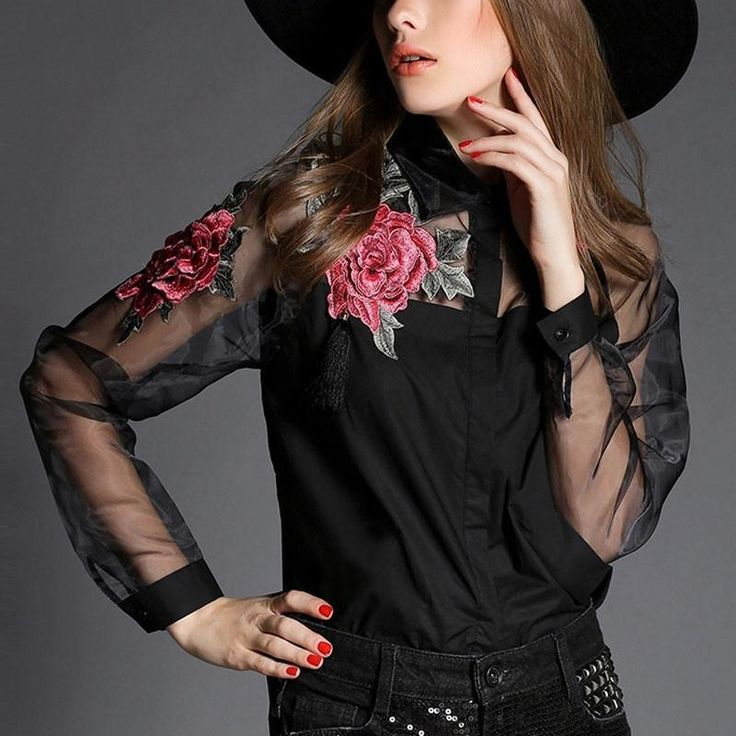 Go out and set a new trend with this stylish and pretty embroidered shirt with turn down collar. Set a new style girl!!Details: Tops Floral Embroidery Turn down