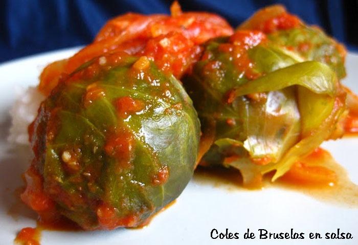 Dieta. Comida Coles de Bruselas en salsa