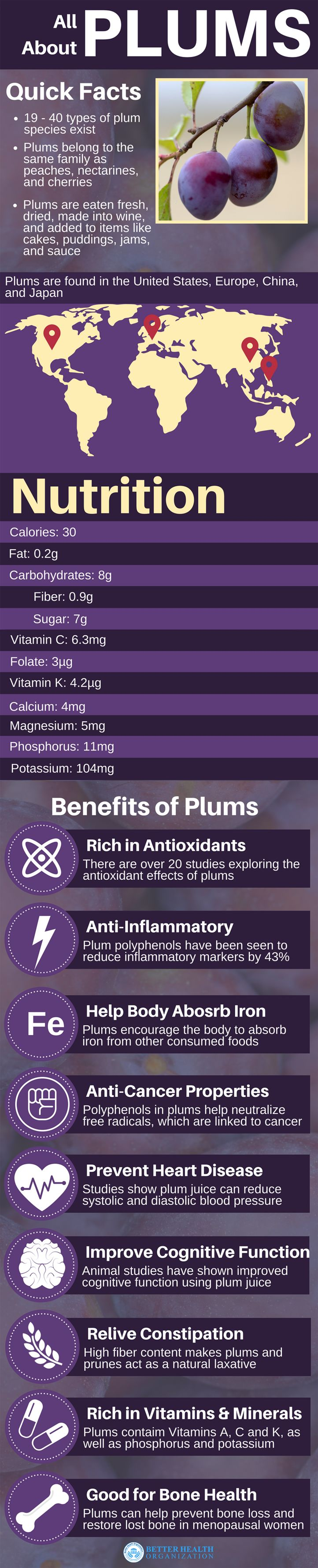 Complete guide to plums: benefits, nutrition, history, and types.