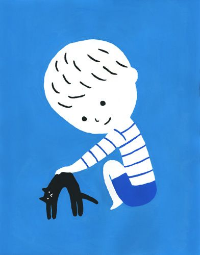 Sato Kanae..so cute this little boy and his black cat! We love blue marine stripes :)