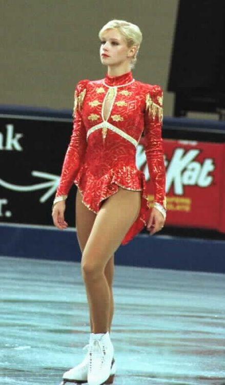Nicole Bobek, Red Figure Skating / Ice Skating dress inspiration for Sk8 Gr8 Designs.