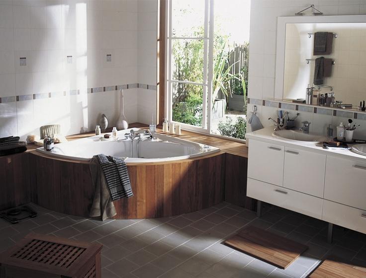 baignoire d 39 angle bord bois fen tre le bien tre au