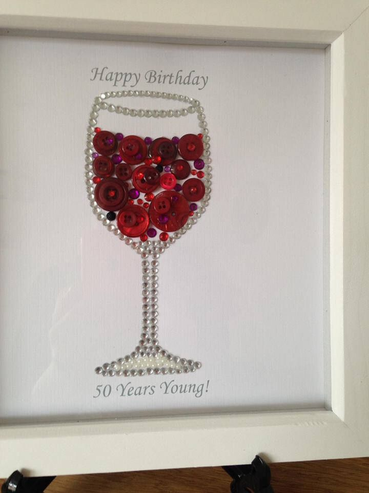 A personal favourite from my Etsy shop https://www.etsy.com/uk/listing/518728988/personalised-wine-button-art-picture